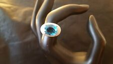 Vintage Silver Plated Blue CZ Cocktail Ring Size 7