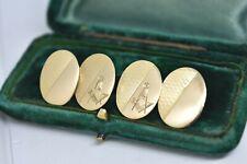 Antiguo 18ct Oro Gemelos con Gratis Masons Brújula Símbolo 11.28g en 1905 #B960