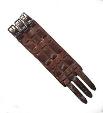 Biker Brown Leather PLAIN Wide Watch Band Buckle Close - 70's 3 strap - USA Made