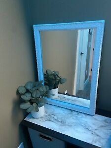 BEAUTIFUL White, Hand Painted, 1971 Vintage Mirror