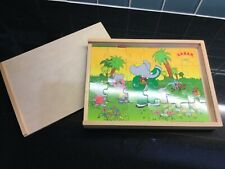 Wooden Box containing 3 French Babar Jigsaws NEW Gift Present Child Birthday