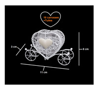10 Carrosses Contenants à Dragées Coeurs Métal Accessoire Mariage Cérémonie Fête