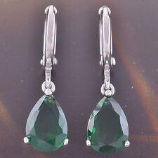 New 9K White Gold Filled Emerald Green CZ Pear Shaped Tear Drop Dangle Earrings