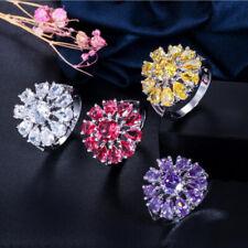 Amazing Flower Fire Citrine Amethyst Garnet Topaz Gemstone Silver Rings Size 6~9
