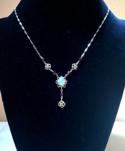 "Victorian Style 14k Solid Yellow Gold Amethyst Diamonds Fire Opal 16.5"" Necklace"