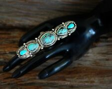 Rustic Large Triple Length Turquoise Detail Stretch Ring adjust - fit any size