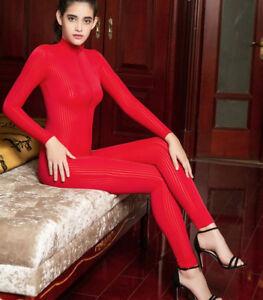 Lady Red Striped Sheer Bodysuit Romper Smooth Fiber Zipper Long Sleeve Jumpsuit