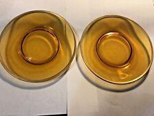"2 VINTAGE AMBER DEPRESSION GLASS DESSERT PLATES,ORANGE TINT, GOLD EDGE, 8"" DIAM"