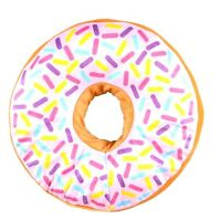 WHITE icing glazed Donut 16 inch throw pillow doughnut sprinkles blue pink red