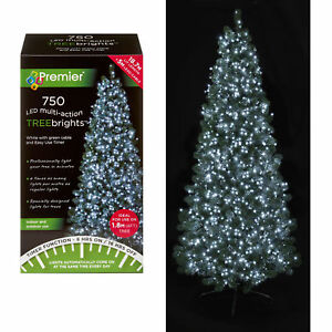 750 LED Christmas TREE Brights Timer Lights Multi Action by Premier - White
