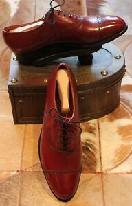 GJ Cleverley Hermes Red Leather Toe-cap Oxfords + Original Shoe Trees- UK 9.5