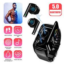 2-In-1 Smart Watch w/ TWS Earbuds Fitness True Wireless Sport Headphone Earphone