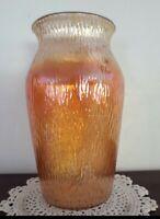 """Marigold  JEANNETTE  Carnival VINTAGE Glass Vase 71/2"""" Tree Bark Design J-2104-3"""