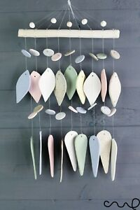 Handmade Light Pastel Hanging Ceramic Windchime Mobile Geometric Diamond M27MG