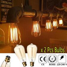 2 PACK ST64 Pear Shape Glass 40W Tungsten Light Retro B22 Bayonet Dimmable Bulbs
