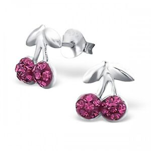 Children's Sterling Silver Cherry Ear Studs with Crystal stones