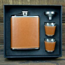 7oz Brown Leather 304 Stainless Steel Hip Flask Set With Gift Box