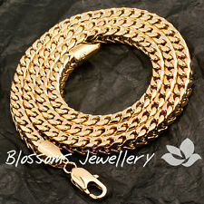SOLID 9K GOLD GF 3D Wheat CURB LINK Square CHAIN NECKLACE MENS Womens S34A 60CM