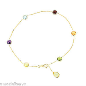 14K Yellow Gold Gemstone Anklet With A Lemon Topaz Pear Shape Drop 10.5 Inches