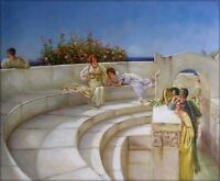 Hand Painted Oil Painting Repro Alma-Tadema Under the Roof 20x24in