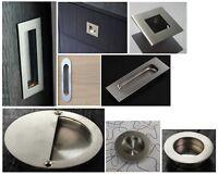 Flat Plate Flush Recessed Satin Furniture Steel Cabinet Sliding Door Pull Handle