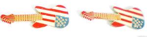 2 SCHÖNE GITARREN PINS MIT USA MOTIV-(LOGO)-ca :4,5 cm x 1,8 cm-2 TOP PINS-MU 1