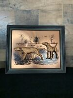 Vintage Signed JOHN LOUW Copper 3D Art HUNTING DOGS Wall Art Wood Framed Picture