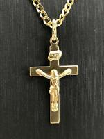 375 9ct Genuine Solid Hallmarked Gold GF Crucifix Cross Jesus Brand **New*