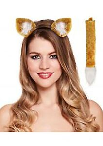 Kids Fox Ears On Headband and Tail Set Childrens Fancy Dress Animal Party Outfit