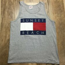 Vtg 90S Sunset Beach Big Flag Tank Top Nautical Surf Skate Grunge Punk Street
