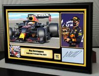 """Tribute to Max Verstappen Bahrain 2021 F1 Framed Canvas Signed Print """"Great Gift"""
