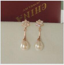 Rose Gold Pear-Shaped Cubic Zirconia Freshwater Pearl Wedding Earrings Bride PE5