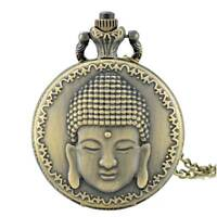 Vintage Buddha Pattern Antique Quartz Movement Pocket Watch Necklace Chain Gift