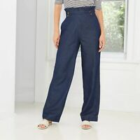 Who What Wear Women's Size 10 High Rise Wide Leg Standard Fit Blue Colored Pants