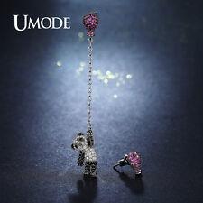Cute Pink Hot Air Balloon Animal Panda Crystal Long Drop Earring for Women