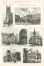 1891 Antique Print - DERBYSHIRE Queens Visit Station Church Corn Market  (158)