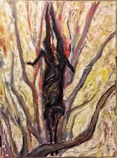 """24""""x18"""" Original Neo-Expressionist Oil Painting, """"Hanging Goat In The Morning"""""""