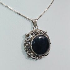 Large Vintage Onyx and 835 Silver Pendant