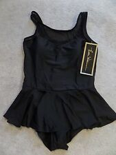 NWT Esther Williams Set up on the Sand Black 1pc Swimsuit Sz 16W Skirt Mesh SEXY