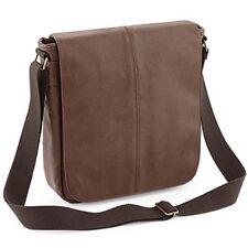 Full Grain Tan Brown Leather Look Mini Messenger Shoulder Mens Man Bag Manbag