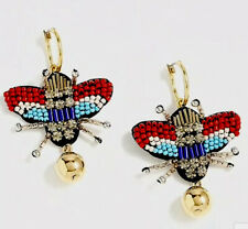 NWT BEADED BEETLE Leather Multi- Color EARRING $65