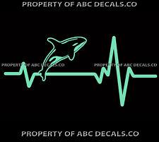 Vrs Heart Beat Line Killer Whale Ocean Orca Dolphin Mammal Jump Car Vinyl Decal