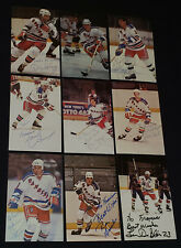 1980'S - NEW YORK RANGERS - NHL - HOCKEY PLAYERS - AUTOGRAPHS - POSTCARDS - (9)