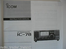 ICOM-78 (GENUINE INSTRUCTION MANUAL ONLY)..........RADIO_TRADER_IRELAND.