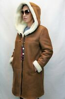 NATURAL COLOR 100% REAL SHEEPSKIN SHEARLING LEATHER COAT JACKET HOOD FUR XS-6XL