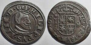 RARE GRADE 1662 SPANISH España  8 MARAVEDIS PHILLIP IV CUENCA MINT COPPER COIN