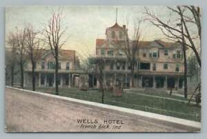 Wells Hotel FRENCH LICK Indiana Antique Springs Resort Postcard 1910s