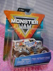 2019 MONSTER JAM Truck ICE CREAM MAN  white Figure;Arena Hot Wheels Spin