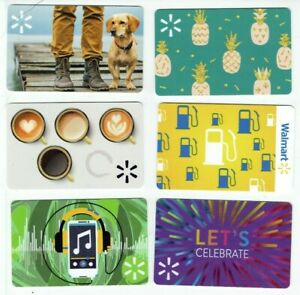 Walmart Gift Card LOT of 6 - Dog, Pineapples, Coffee Cups, Gas, Music - No Value