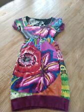 Desigual Dress XS Women's Girls Large Short Sleeve Multi Color Cotton